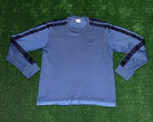 Vintage Blue Nike Athletic Long Sleeve Shirt Sz Mens L Gray Tag Embroidered