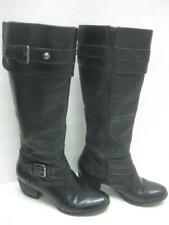 CLARKS black boots 6 1/2 M 2 buckles knee high