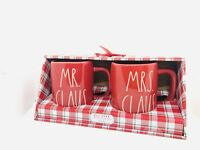 Rae Dunn 2020 Christmas By Magenta MR. CLAUS and MRS. CLAUS LL Red Mug, Set of 2