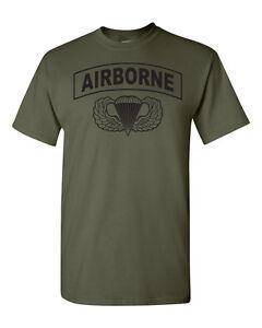 Airborne Hardcore  Paratrooper Jump Wings 82nd 101st Men's Tee Shirt 1617