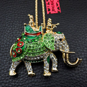 Betsey Johnson Green Enamel Crystal Cute Elephant Pendant Sweater Chain Necklace