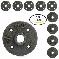 """10Pcs 1/2"""" Malleable Threaded Iron Pipe Fittings Wall Mount Floor Flange"""