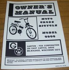 Vintage NOS Fox BMX Moto Cross MX Bicycle Owners Manual By Fox Minibike