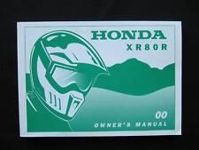 Honda 2000 XR80 XR 80 R XR80R Original Owners Manual h0087