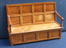1:12 Scale Oak Stained Monks Bench King Charles Settle Tumdee Dolls House Pub