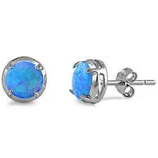 Round shaped Blue Opal Stud .925 Sterling Silver Earrings