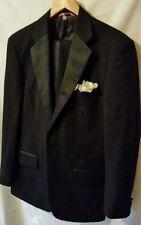 Mens Black Tuxedo 1 Button Satin Trim Jacket Pants Formal Wedding Groom 40L Wool