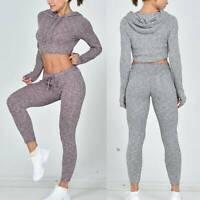 Women Yoga Sports Suit Hooded Long Sleeve Crop Top Leggings Pants Gym Set Outfit