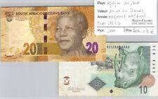 2 BILLETS AFRIQUE DU SUD - 10 et 20 RAND - ND (1999 et 2012)