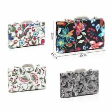 Women's Designer Style Embroidered Flower Print Clutch Bag