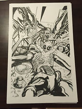 Baby Deadpool v Aliens Original Art Chris McJunkin Parody Xenomorph