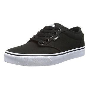 VANS Atwood Mens Canvas Skater Trainers Plain Shoes Lace Up Plimsoll Black White