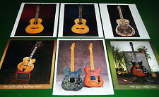 Lot 6 Guitar Prints: GIBSON, FENDER, ACOUSTIC RESONATOR, WASHBURN, Prairie State