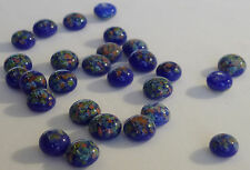 36 Vintage Glass Millefiori 8mm Round Blue Dome Top Flat Back Japanese G4-5