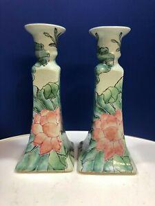 Vintage Pair of Chinese Porcelain Candlesticks Macau Hand Painted Lotus Flowers