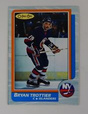 1986-87 OPC O-Pee-Chee Bryan Trottier Box Bottom Blank Back Hand Cut