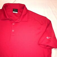 XL NIKE Golf Dri Fit Polo Shirt Button Up Embroidered Swoosh Logo Sleeve Redish