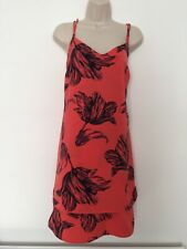 Next Salmon Red Floral Dress Size 10/12
