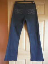 NYDJ size 8 high waist, black boot cut, embellished jeans, LN