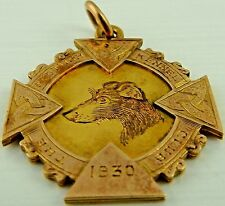 9ct Gold Scottish Kennel Club medal dated 1930. Marked for 9ct. 7.2 gms
