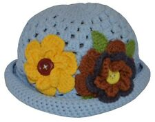 Crochet Hat with Flowers (Blue) - Small