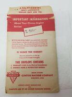 Vintage 1957 Clinton Machine Company Engine Kansas City Mower Operator Manual