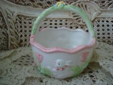 ADORABLE CERAMIC SPRING EASTER BUNNY BASKET WITH EASTER TULIPS ****SO PRETTY***