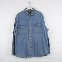 Vintage WORK N SPORT Blue Denim Shirt Size Mens XL