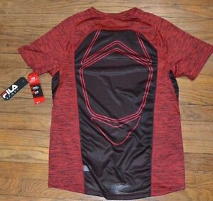 Fila Sport Performance Shirt Fitted Tee Provent Mesh Panels Red Twist To Black