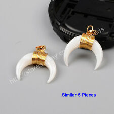 5Pcs Crescent Moon Horn Rainbow Shell Wire Wrap Pendant Gold Plated HOT BG1123
