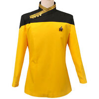 Halloween Men's Cosplay Costume Star Trek TNG Yellow Dress Uniform Jacket