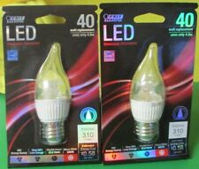 Lot of 2 Feit LED Dimmable Chandelier Standard Base 40W Equiv Flame Tip 3000K