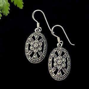 Vintage Inspired Sterling Silver & Marcasite Oval Earrings on Hooks