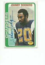 JOHNNY RODGERS Autographed Signed 1978 Topps card San Diego Chargers  COA