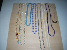 """32"""" Various Clasps Colors & Bead sizes Lot Of 8 Vintage Beaded Necklaces 14"""" -"""