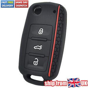 Silicone Car Key Cover Case Remote Key Fob Keyring Sleeve For VW Seat Skoda UK