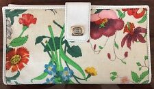 RARE Vintage GUCCI Iconic Flora Flower Pattern White Canvas & Leather Wallet
