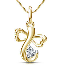 18K Gold Plated 925 Silver White RD CZ Awesome Heart & Ganesha Pendant