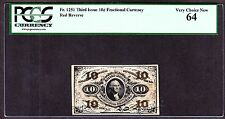 US 10c Fractional Currency Red Back FR 1251 PCGS 64 V Ch CU