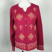 Talbots L Large Cardigan Sweater Deep Pink Embroidered Button Up Pure Cotton