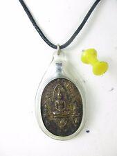 altes Phra-Somdej Buddha Amulett Anhänger Messing Halskette Siam Thailand ~1950