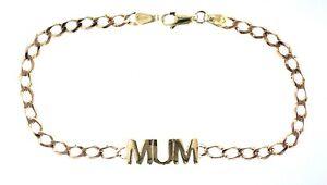 "Ladies 9ct Yellow Gold 7.75"" Plain ""MUM"" Name Bevelled Filed Curb Bracelet"