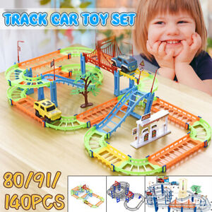 80/91/140 Pcs Multi-layer Rail Car Toy Set DIY Town Track Playset Kids Toy NEW