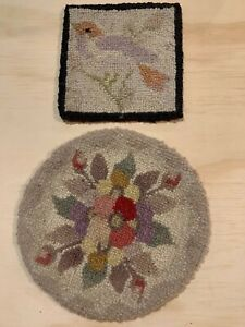 Vintage Hand Needlepoint Embroidery Bute Arran Canada Lot of 2 Flower & Bird