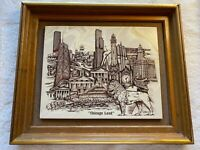 """""""Chicago Land,""""  Marble Chicago Cityscape Etching by D. Bivens Vtg #028 1976"""