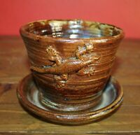 Vintage Brown Pottery Planter with Lizard Embossed on each side