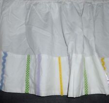 Pottery Barn Baby Crib Skirt Zigzag & Ribbons purple green yellow blue EUC