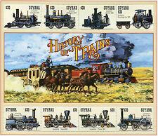 Guyana 1994 MNH Trains 8v M/S II Railways Locomotives Steam Engines Züge Stamps