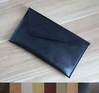 women cow Leather Clutch bag handbag Purse Pouch wallet handmade black A511