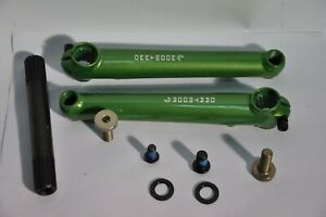 Dartmoor Keipo green bicycle cranks with spindle (no bearings) 19mm axle